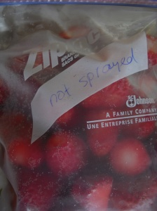 frozen non sprayed strawberries in freezer bag
