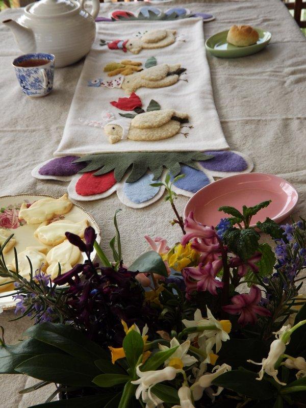 Handmade wool felt Easter runner, homemade baking, flowers garden