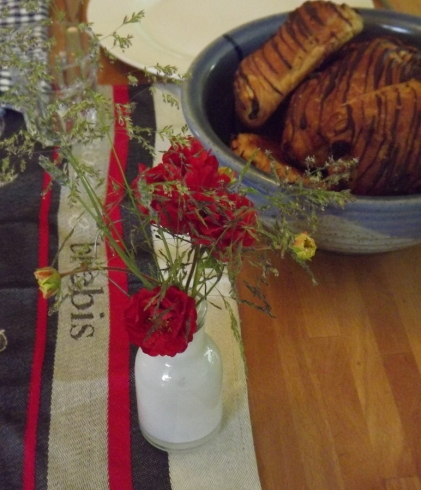 organically grown flowers from the garden on birthday morning
