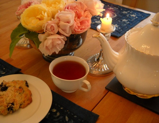 homemade scone with tea roses from my garden